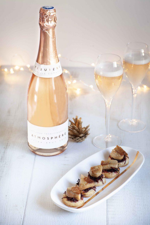 Recette de feuilletés de foie gras, bouteille de rosé méthode champenoise: l'Atmosphère du domaine de Figuière