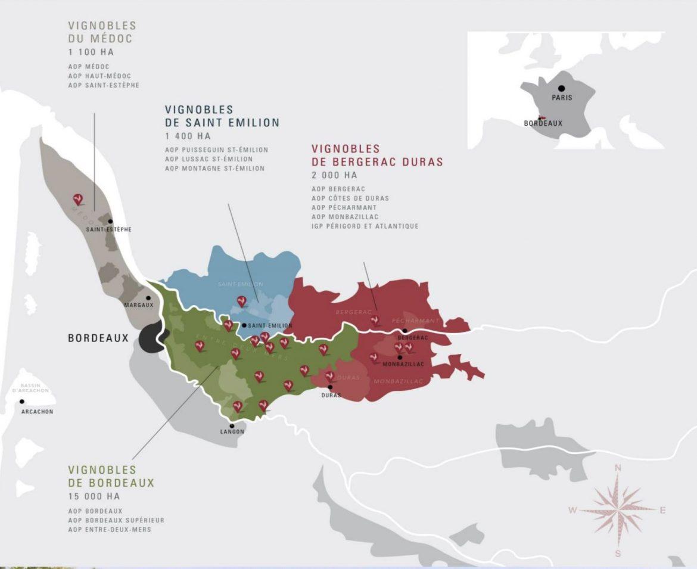 carte des vins de Bordeaux, avec l'entre-deux mers