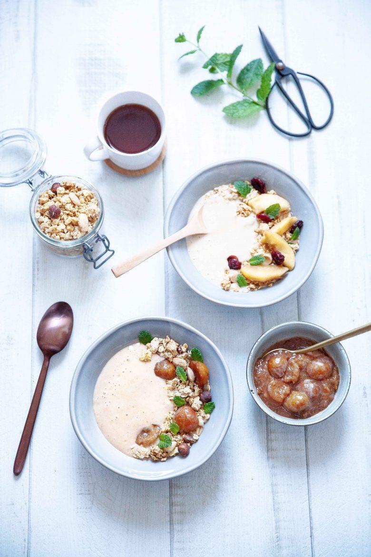 Recette de smoothie bowl aux mirabelles et de smoothie bowl aux pommes caramélisées