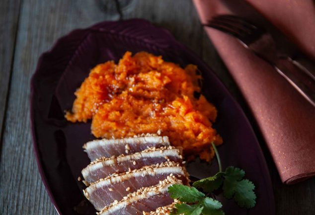 Ma recette de tataki de thon blanc germon et purée de patates douces cuites au four