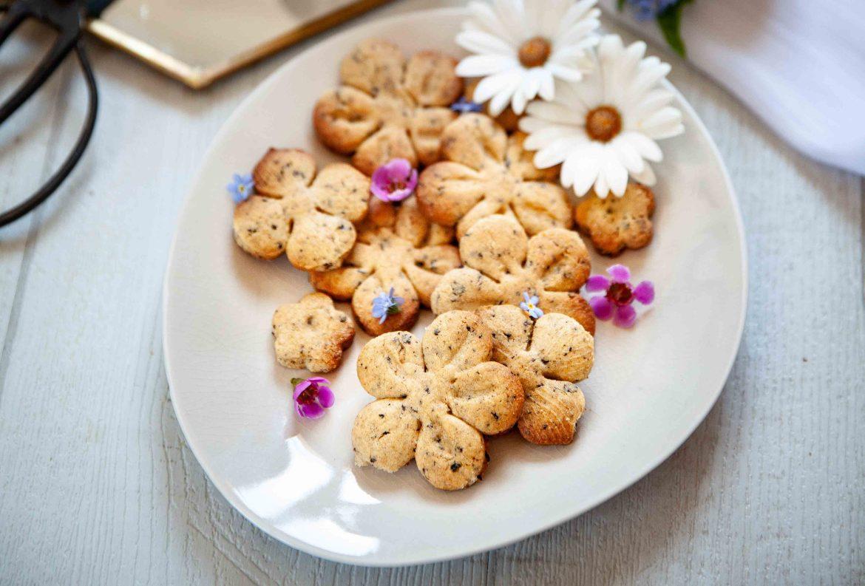 Recettes de biscuits au thé Sakura Blue, un thé bleu de Mariage Frères