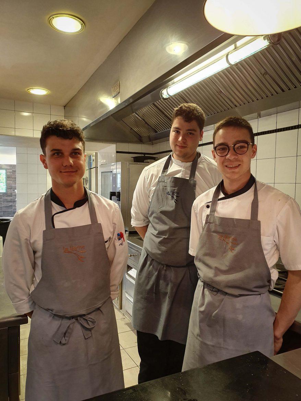 Martin, Simon et  Renan, les cuisiniers de la Table d'Elise à Noirmoutier
