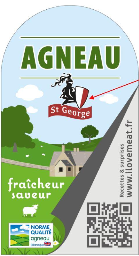 L'estampille Agneau St Georges sur les packagings de vente d'agneau britannique en France