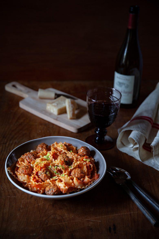 La recette de mes pâtes aux boulettes de viande ou mafaldine polpette à la sauce tomate