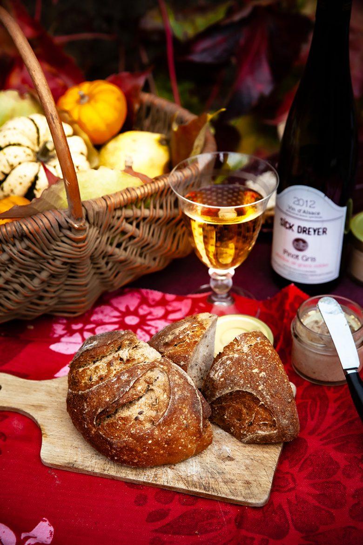 Le pinot gris grains nobles de Sick Dreyer 2012 et mon pain au levain quotidien