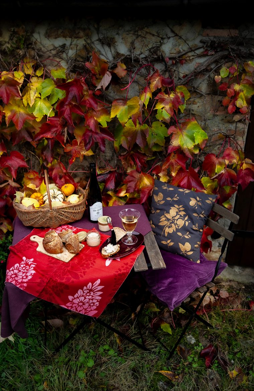 Aperitif à l'automne avec vin d'alsace, pain au levain et terrine de canard