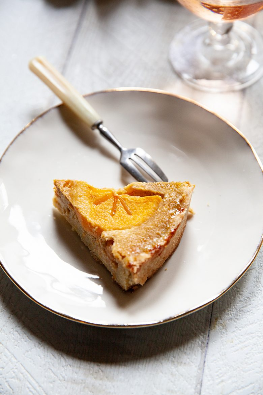 Part de tarte au kaki et à l'anis vert, la recette