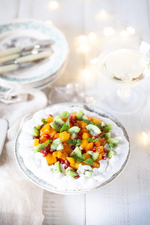 Pavlova vegan aux fruits exotiques