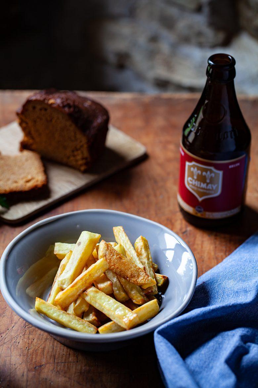 Bière Chimay et frites pour accompagner la carbonade végétale