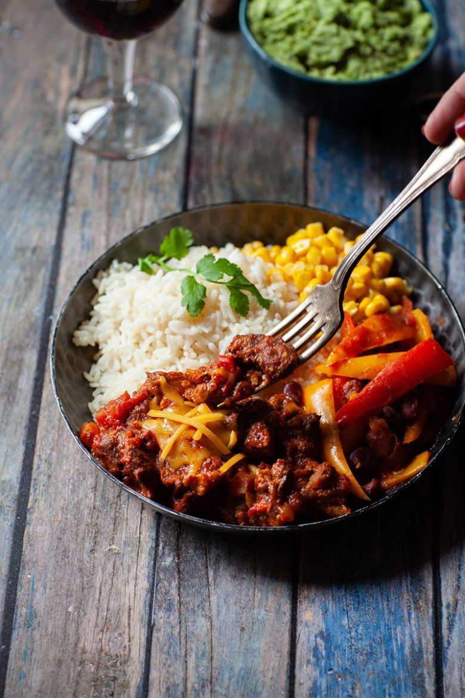 La viande de boeuf dans le chili con carne, ma recette classique du chili con carne