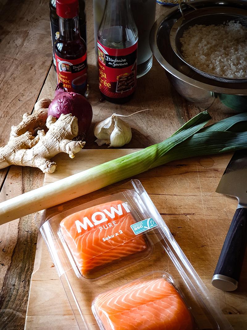la saumon Mowi Pure que j'ai utilisé pour mon teriyaki de saumon aux oignons confits