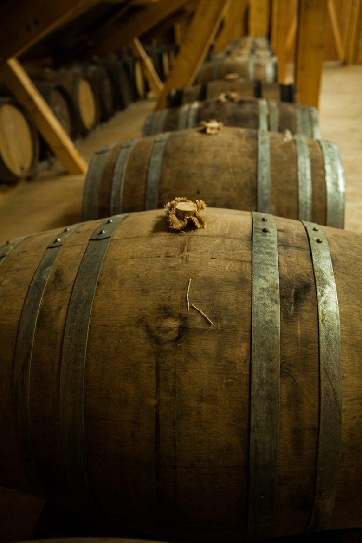 toneeaux d'élevage de vin de paille chez andré Morin au Domaine de la Touraize
