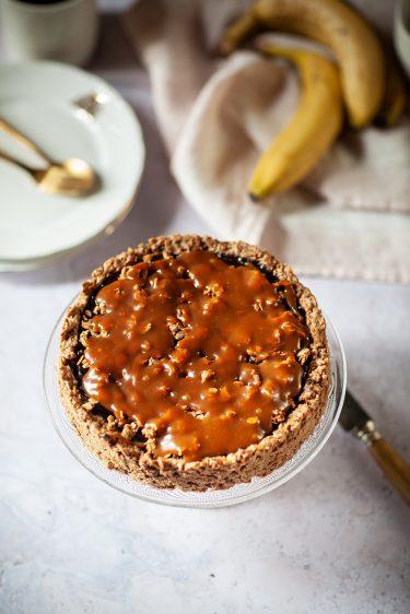 Ma recette de tarte à la banane chocolat caramel salé vegan et sans gluten