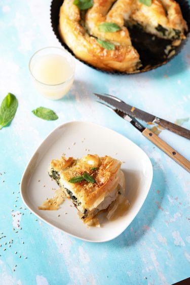 Ma recette de börek aux épinards avec du chèvre, börek enroulé.