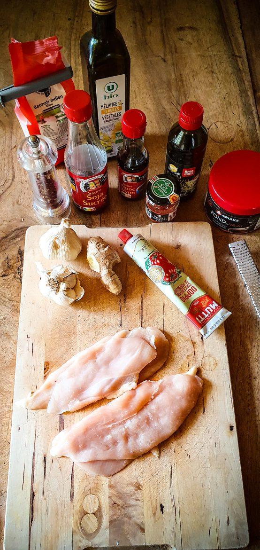 Mes ingrédients pour réaliser la recette du poulet au gingembre frais caramélisé