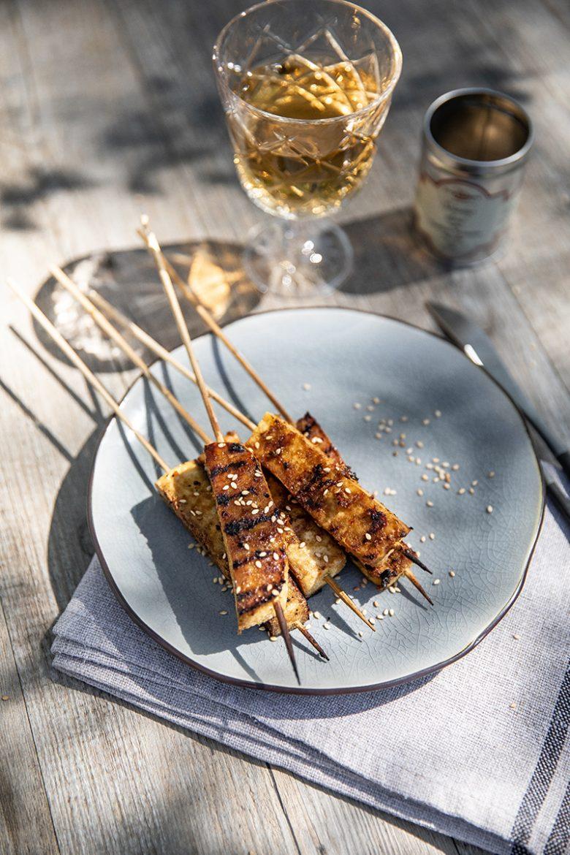 Ma recette de brochettes de tofu au BBQ, marinade au sésame