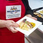 Le plat de Anne Reverdy lieu jaune aux crozets et kaki pour la food battle Pavillon France SIA 2020