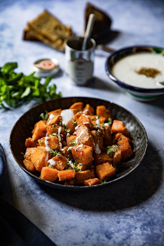 Ma recette de patates douces sautées au zaatar et crème de feta
