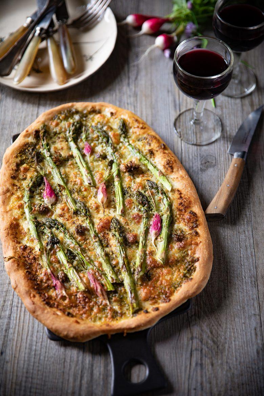 Ma recette de pizza aux légumes de printemps et au pesto d'otie