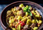 Recette de tajine aux concombre cuit, radis et boulettes de viande de boeuf