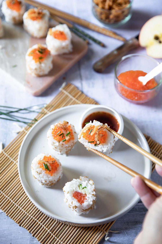 California rolls, une recette à base de riz japonais et de truite fumée