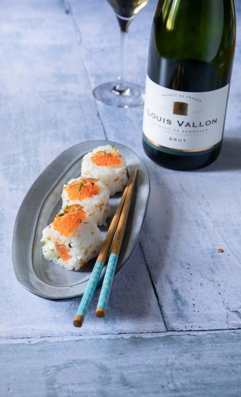 Louis Vallon, crémant de Bodeaux, avec les sushi Caifornia rolls à la truite fumée