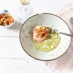 La recette du Saumon basse température, sauce chimichurri, puree brocoli