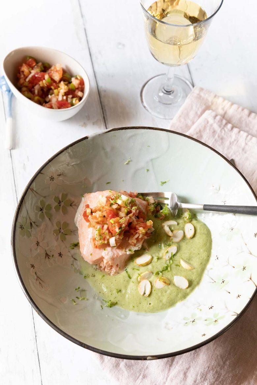 Recette de saumon cuit basse température, sauce chimichurri et purée de brocoli onctueuse