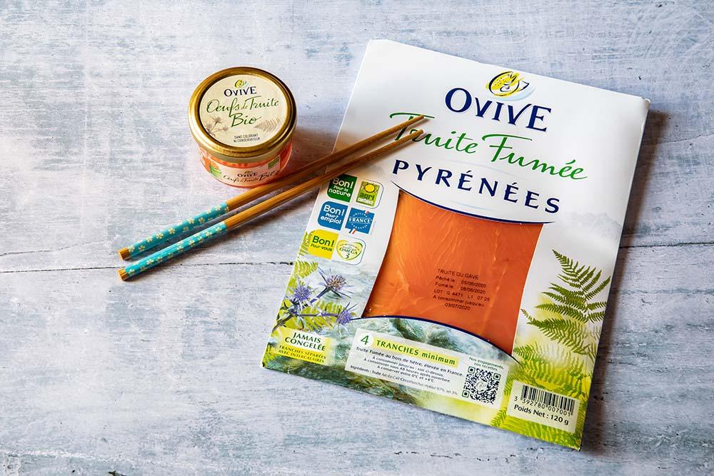 Packaging de la marque Ovive de truites fumées d'oeufs de truite