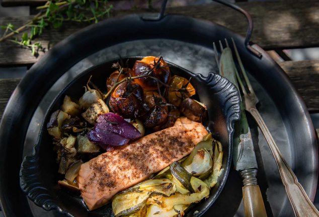 Légumes confits et saumon au sumac, la recette facile et rapide