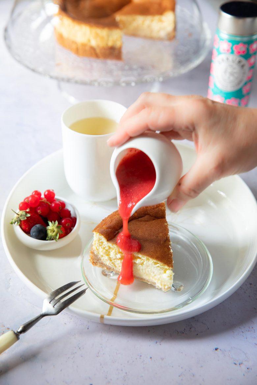 Ma recette de New York cheesecake au coulis de fraise, sans sucre et keto diet