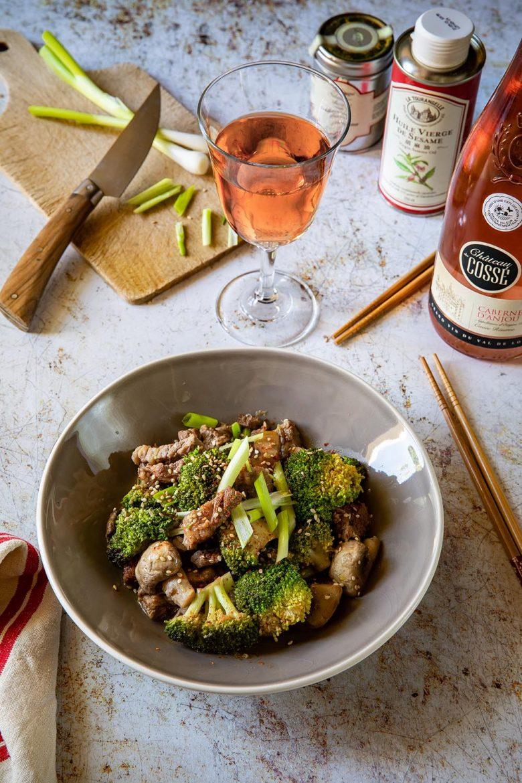 Ma recette de wok de boeuf aux brocoli et aux champignons, recette chinoise
