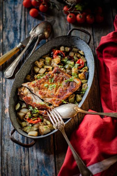 Recette d'épigramme au four, aux épices et aux légumes d'été