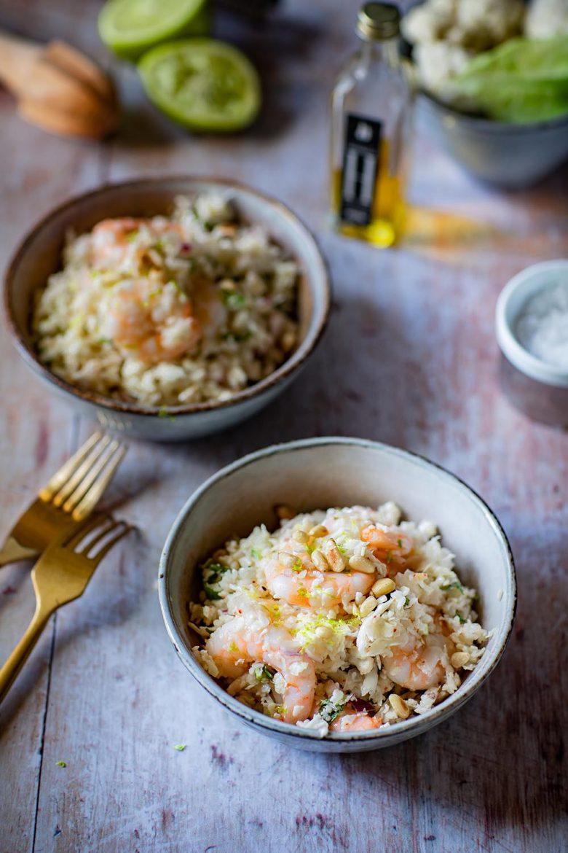 Taboulé keto au chou fleur et aux crevettes