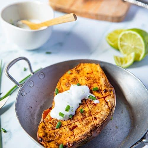 Ma recette de Patate douce au four, sauce crème de coco au citron vert