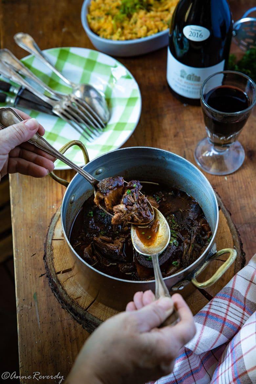 le pulled beef au floc de gascogne ou jarret de boeuf effiloché cuit au four