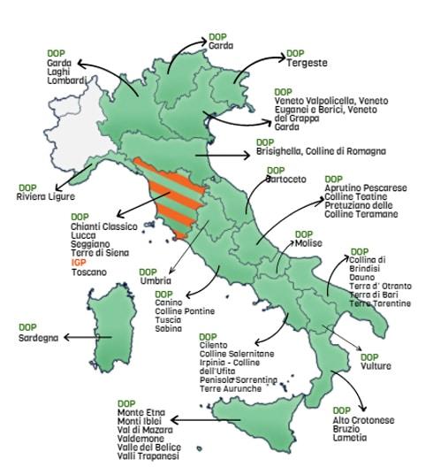 Carte des terroirs et des DOP-IGP des huiles d'olive italiennes
