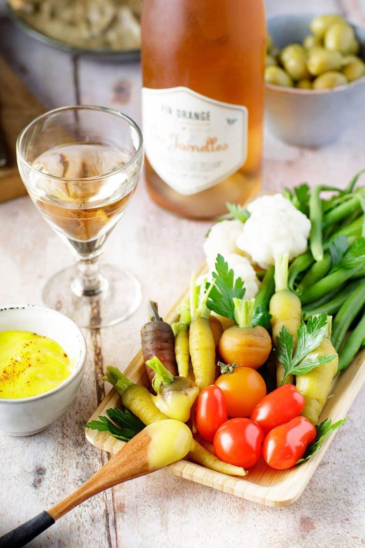 Recette de légumes à l'aïoli et vin orange