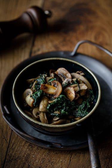 Ma recette de champignons et épinards sautés