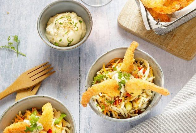 Salade de vermicelles Thaï aux crevettes croustillantes
